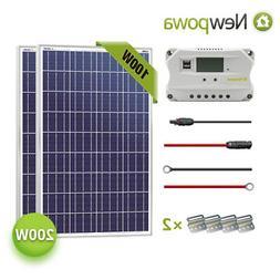 Newpowa 200W Watt Mono Solar Panel 12V System Controller Mou