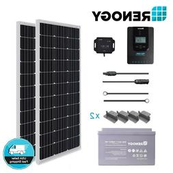 Renogy 200W Solar Panel Kit w/ 100Ah Deep Cycle Battery & 20
