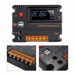 MOHOO 20A 12V 24V Solar Charge Controller Auto Switch LCD In