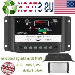 20A PWM Solar Charge Controller HQST 12V 24V Regulator - Sol