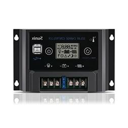 Sunix 10A 12V/24V Solar Charge Controller, Upgraded Solar Pa