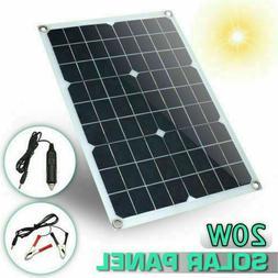 20W 12V/5V DC Waterproof Battery Solar Panel USB Home For Ph