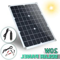 20W 12V/5V DC Waterproof Battery Solar Panel USB Home For Ph
