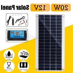 20W 12V/5V Dual USB DC Battery Solar Panel+Controller Kit Se