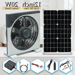 20W DC12V/5V Double USB Solar Panel+12inch 11W DC Fan+1.2m D