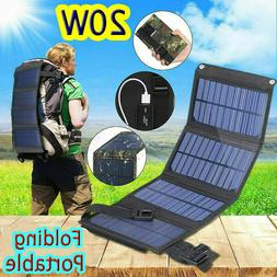 20W Solar Panel Folding Power Bank Outdoor Hiking Camping US