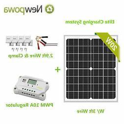 Newpowa 20W Watt Solar Panel+PWM 10A 12V/24V Controller+Brac