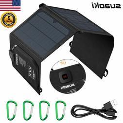 Suaoki 21W USB Solar Panel Folding Power Bank Outdoor Campin