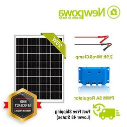 Newpowa 25 Watt 25W 12V Solar Panel + PWM 10A Controller Bat