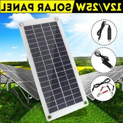 25W 12V Car Boat Yacht Solar Panel Trickle Battery Charger S