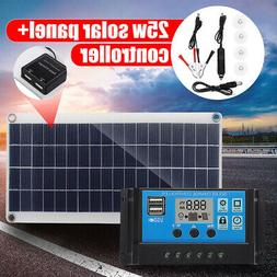 25W Dual USB Solar Panel Charger + Solar Controller+Alligato