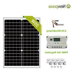 NewPowa  25W Watt 12V Mono Solar Panel PWM 10A Charge Contro