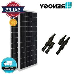 2pcs Renogy 100W Solar Panel w/ MC4 Branch Connector 200 Wat