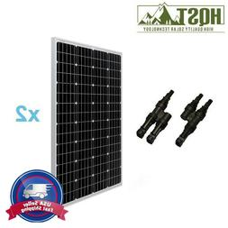 2pcs HQST 100W Solar Panel w/ MC4 Branch Connectors 200W Wat