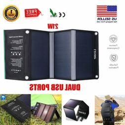 2USB Foldable 21W Solar Panel Battery Charger Waterproof Tra