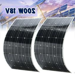 2PCS 100W 18V Mono Semi-Flexible Solar Panel 200W Battery Ch