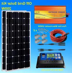 2x100 watt Solar Panel Kit w/ 1000W Pure Sine Wave Inverter