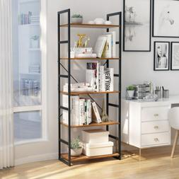 5 Tier Shelving Unit Metal Wood Shelf Rack Kitchen Home Stor