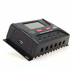 HQST 30 Amp 12V/24V PWM Solar Panel Regulator Charge Control