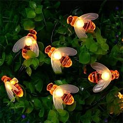 LiPing 30 LED Solar Powered Outdoor String Honey Bee Shape W