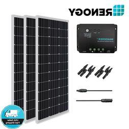 Renogy 300 Watt 12V Mono Solar Panel Bundle Kit 30A Controll