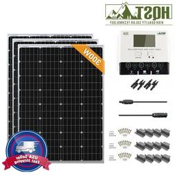 HQST 300 Watt 12V Mono Solar Panel Starter Kit System w/ 30A