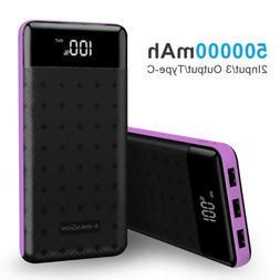 500000mAh 3 USB External Power Bank Portable LCD LED Charger