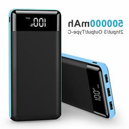 500000mAh 3 USB Power Bank Portable LCD LED Battery Charger