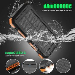 500000mAh Portable External Solar Power Bank 2USB Battery Ch