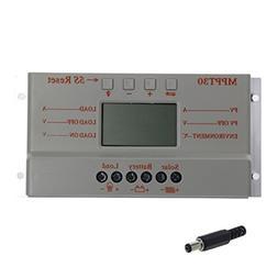 Amrka LCD 30A 12V/24V MPPT T30 Solar Panel Battery Regulator