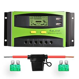 Sunix 20A 12V/24V Solar Charge Controller, Upgraded Intellig
