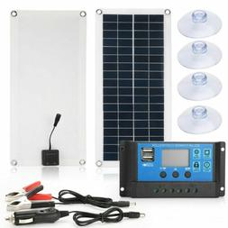 30W 12V/5V Solar Panel Dual USB Boat Car Battery Charger Out