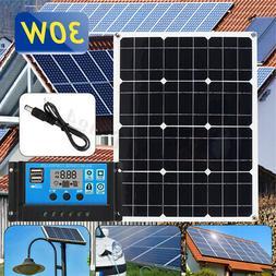30W 12V/5V USB DC Battery Solar Panel+20A Controller Kit Mot