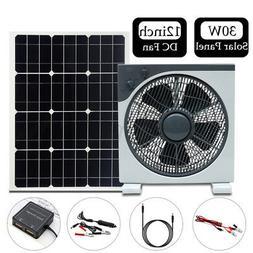 30W DC12V/5V Double USB Solar Panel+12inch 11W DC Fan+1.2m D