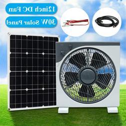 30W DC12V/5V USB Solar Panel+12'' 11W DC Fan For Outdoor Cam