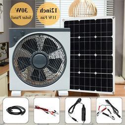 30W DC12V/5V USB Solar Panel+12inch 11W DC Fan For Camping H