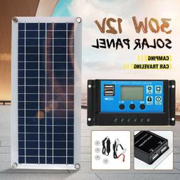 30W Dual USB Flexible Solar Panel Kit+Controller+Clip Outdoo