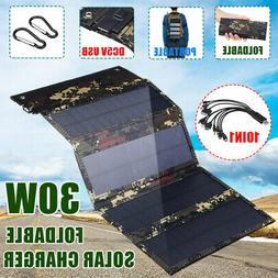 30W Folding Solar Panel Charger Portable USB Battery Charge