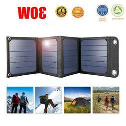 30W Folding Solar Panel USB Phone Battery Charger Power Bank