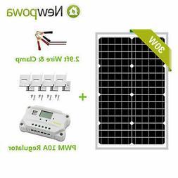 Newpowa 30W Solar Panel + PWM 10A 12V/24V Controller + Brack