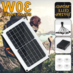 30W USB Solar Panel 5/12V 10-in-1 Charging Line For Boat Car