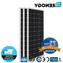 3PCS Renogy 100W Watt 12V Mono 300W Solar Panel  Off Grid Po