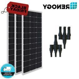 3pcs Renogy 100W Solar Panel w/ MC4 MMF FFM Branch Connector