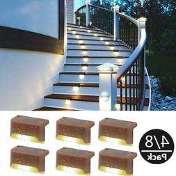 4/8 Pcs Solar LED Deck Lights Outdoor Path Garden Pathway St