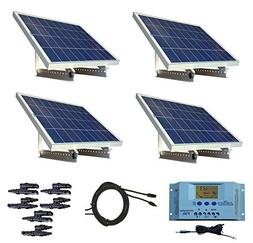 WindyNation 400 Watt 12V or 24V Solar Panel Kit w/ Adjustabl