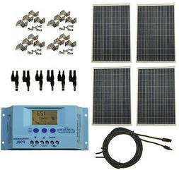 400 Watt 400W Solar Panel Kit w/ LCD Charge Controller 12/24