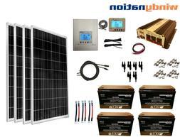 400W 12V MPPT Solar Panel Kit + Power Inverter + AGM Battery