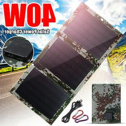 40W Foldable Solar Panel Dual USB Charger Phone Charge Outdo
