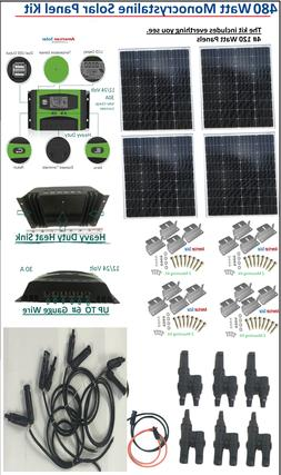480 watt solar generator system 12/24 volt kit panel with ra