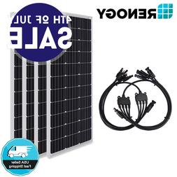 4pcs Renogy 100W Solar Panel w/ MC4 MFFF FMMM Connectors 400